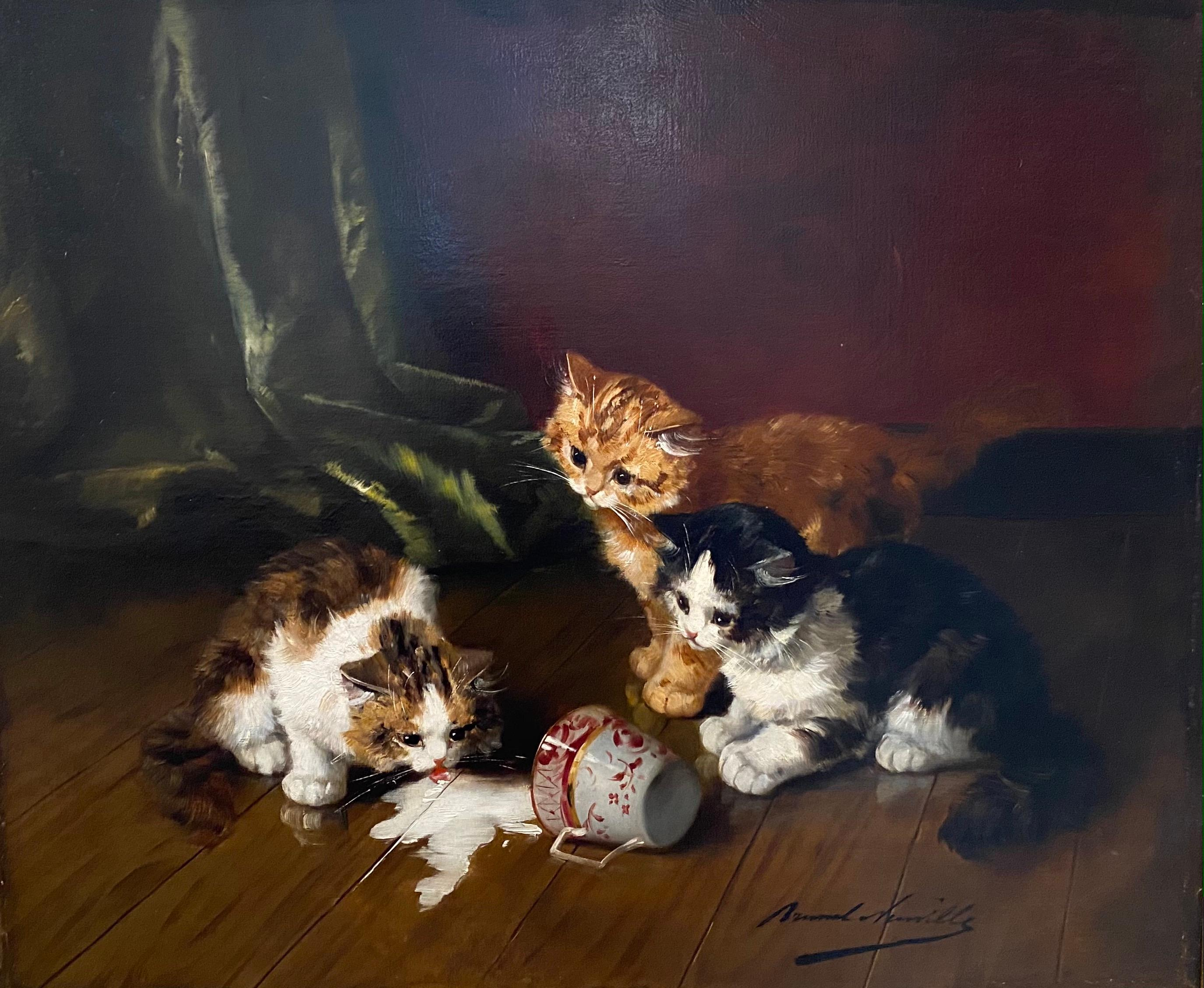 'Spilled Milk' French Interior Painting of Kittens & Cats drinking from a teacup