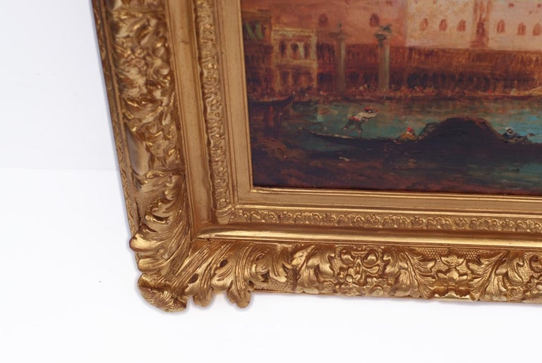 BACHMANN Alfred Félix August (1863-1956)  Venice Lagoon and Doge Palace Oil on canvas signed Low Right Frame gilded with leaves   Dim canvas : 73 X 54 cm  Dim frame : 78 X 95 cm     BACHMANN Alfred Félix August (1863-1956)   German school 19th -