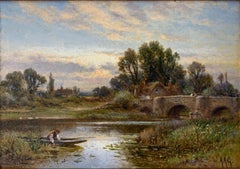 Glendening Antique English Sunset  Rowing on The Thames River Oil Painting
