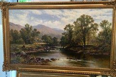 Victorian English or Welsh River landscape with a fisherman and harvest scene.