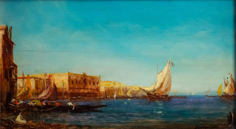 Alfred Bachmann, Pair of Oil on Panel Venice Views, circa 1890-1910 For Sale 3