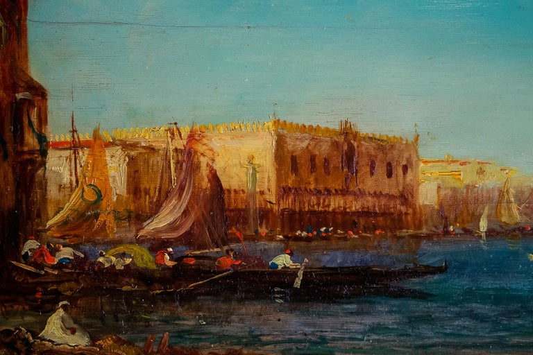 Alfred Bachmann, Pair of Oil on Panel Venice Views, circa 1890-1910 For Sale 4