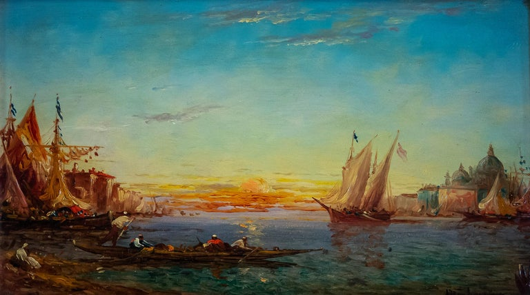 Alfred Bachmann, Pair of Oil on Panel Venice Views, circa 1890-1910 For Sale 5