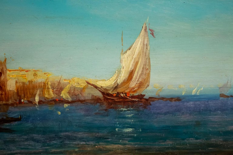 Alfred Bachmann, Pair of Oil on Panel Venice Views, circa 1890-1910 For Sale 6