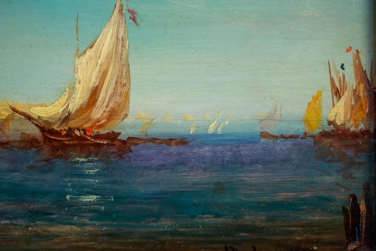 Alfred Bachmann, Pair of Oil on Panel Venice Views, circa 1890-1910 For Sale 7