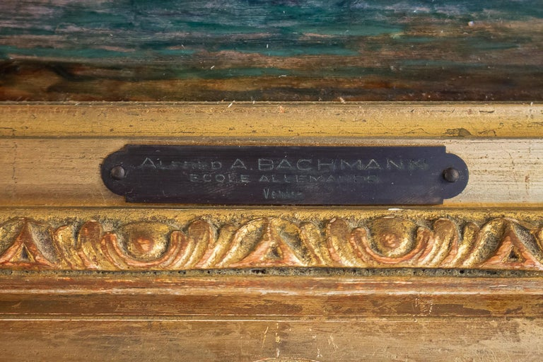 Alfred Bachmann, Pair of Oil on Panel Venice Views, circa 1890-1910 For Sale 9