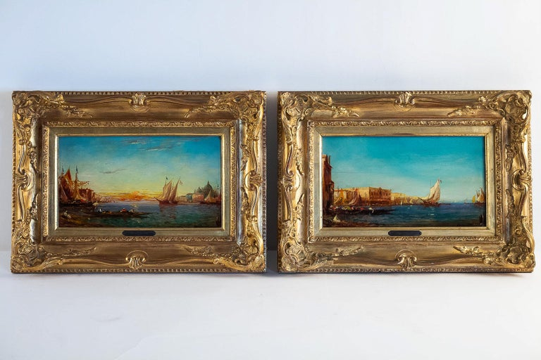 Alfred Bachmann, pair of oil on panel Venice Views, circa 1890-1910