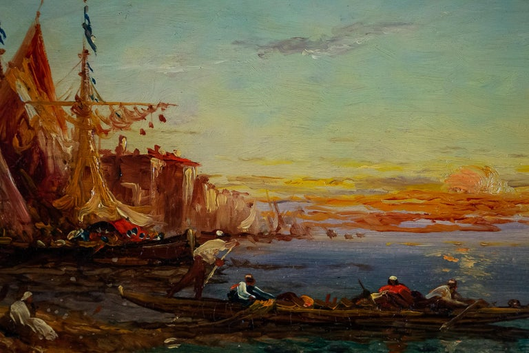 Hand-Painted Alfred Bachmann, Pair of Oil on Panel Venice Views, circa 1890-1910 For Sale