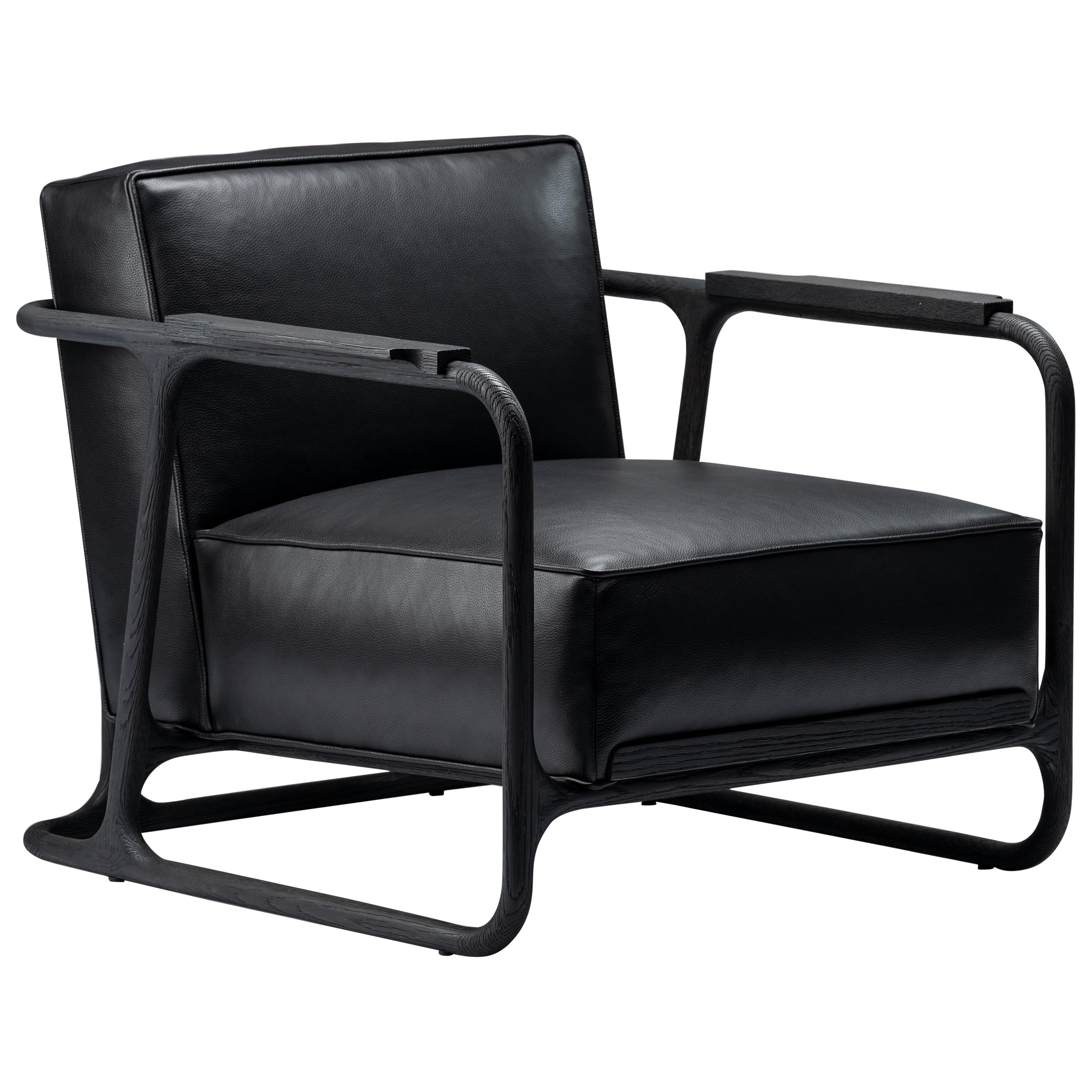 ALFRED Black Lounge Chair/Armchair in Walnut/Oak with Leather Seat, Mandy Graham