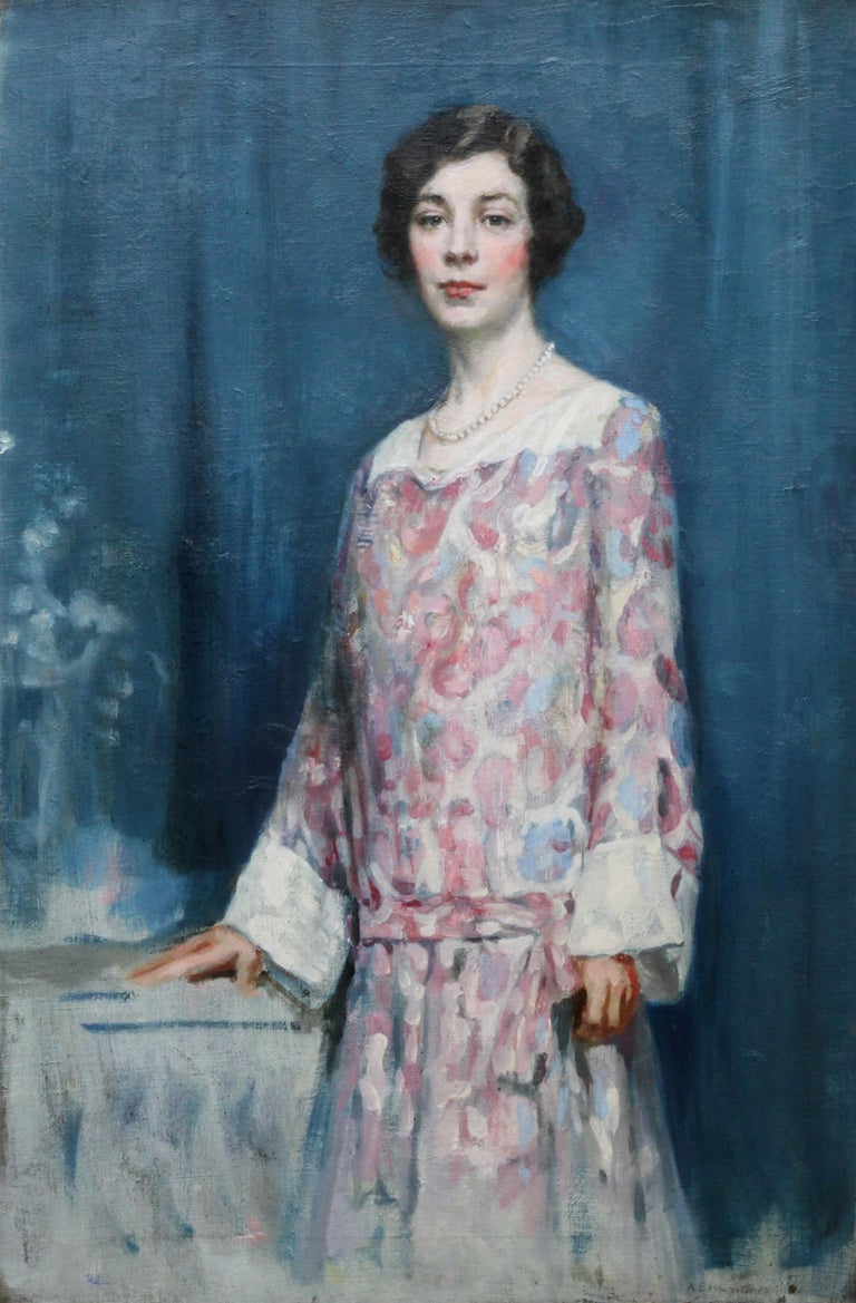 Standing Female Portrait - Scottish 1920's Colourist art portrait oil painting - Painting by Alfred Borthwick