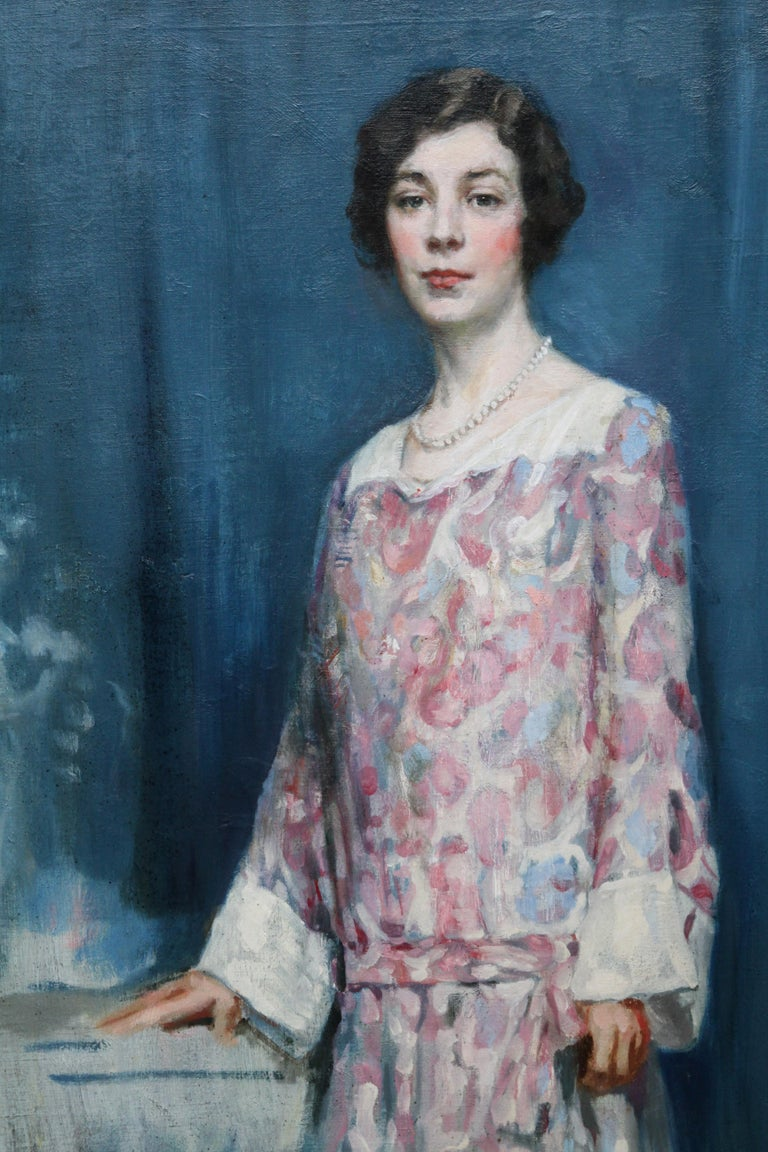 Standing Female Portrait - Scottish 1920's Colourist art portrait oil painting - Impressionist Painting by Alfred Borthwick