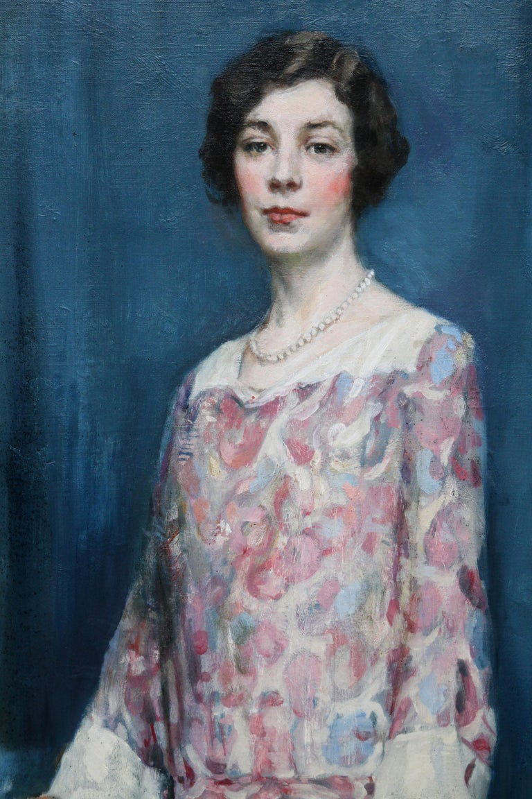 Standing Female Portrait - Scottish 1920's Colourist art portrait oil painting - Gray Portrait Painting by Alfred Borthwick