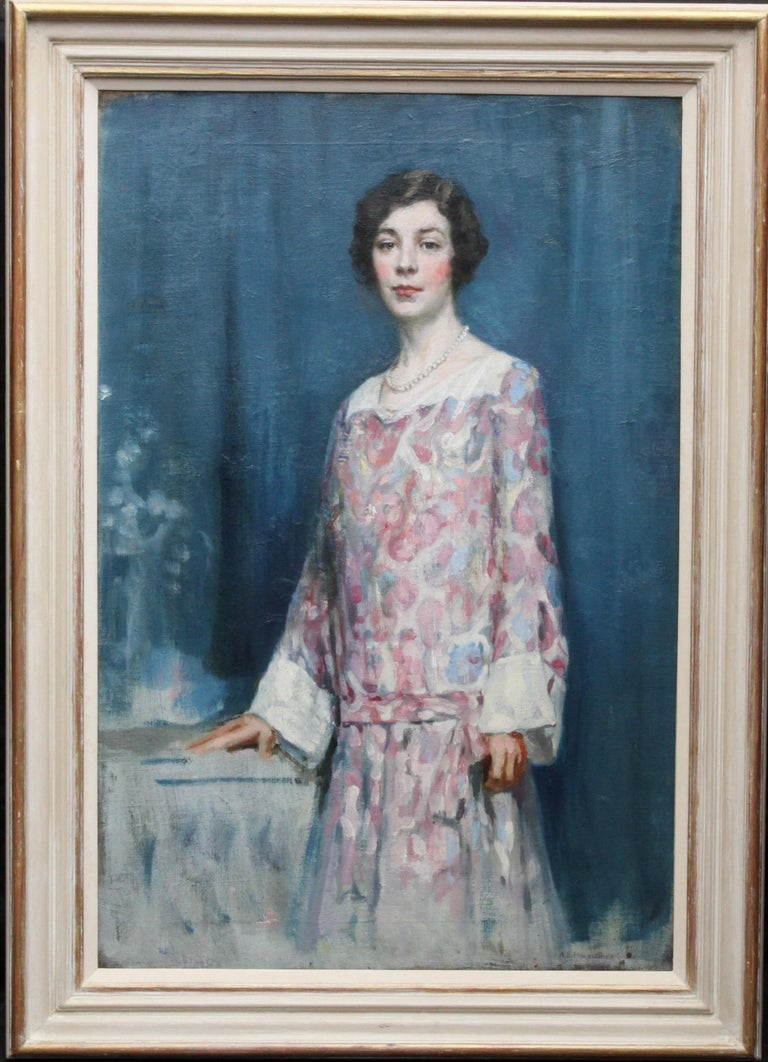Alfred Borthwick Portrait Painting - Standing Female Portrait - Scottish 1920's Colourist art portrait oil painting