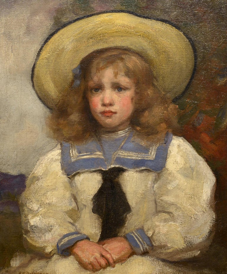 """""""Young Girl in a Sailor Suit,"""" Alfred Borthwick, Scottish, portrait - Painting by Alfred Borthwick"""