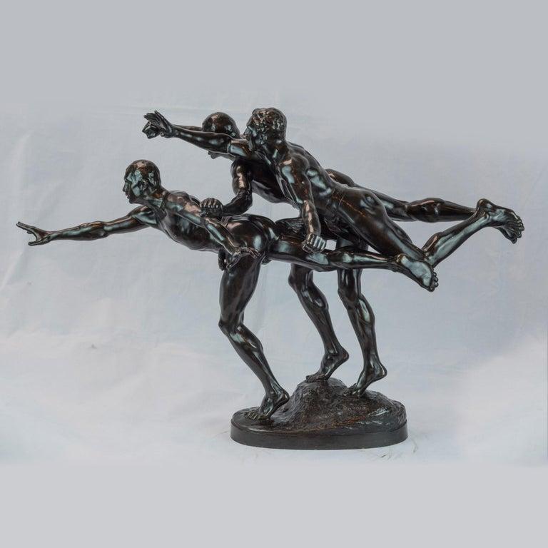 A fine patinated bronze figural group sculpture entitled