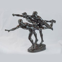 """Patinated bronze figural group sculpture entitled """"Au But"""" (The Finishing Line)"""