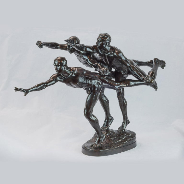 """Alfred Boucher Figurative Sculpture - Patinated bronze figural group sculpture entitled """"Au But"""" (The Finishing Line)"""