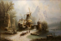 Romantic Winter Landscape with Ice Skaters. Oil on canvas. 19. century.