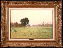 Steam Train Normandy - Impressionist Oil, Figures in Landscape by Alfred Casile