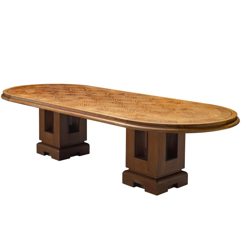 Alfred Chambom Large Oak Dining Table With Inlayed Top For