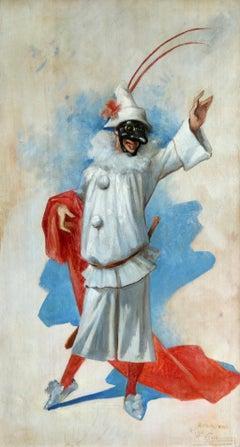 Pierrot - Design for Theatre de la Gaite - Paris - 19th Century Oil - A Choubrac