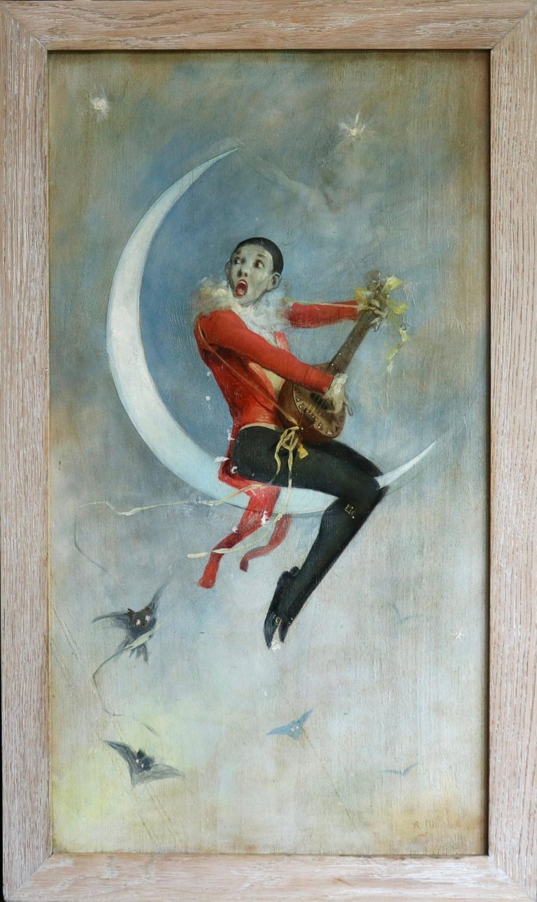 Pierrot on Crescent Moon - Large signed 1880 Belle Epoque oil by Alfred Choubrac For Sale 3