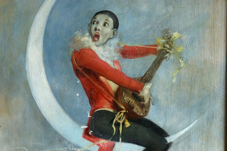 Pierrot on Crescent Moon - Large signed 1880 Belle Epoque oil by Alfred Choubrac For Sale 4