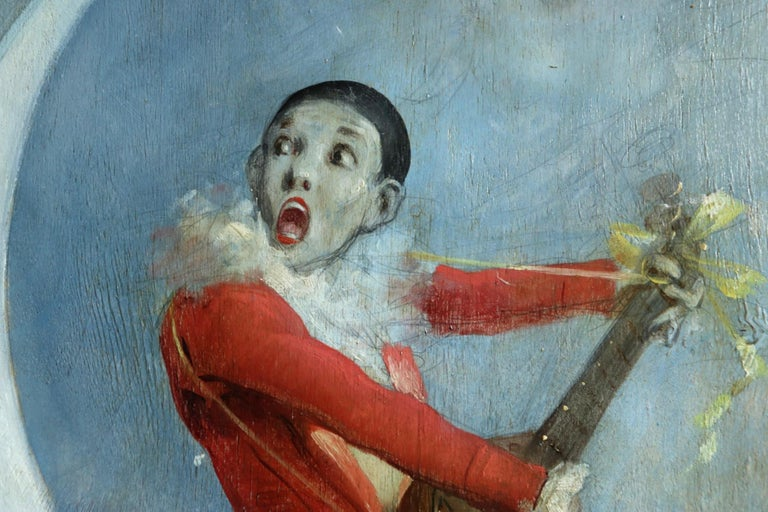 Pierrot on Crescent Moon - Large signed 1880 Belle Epoque oil by Alfred Choubrac For Sale 5