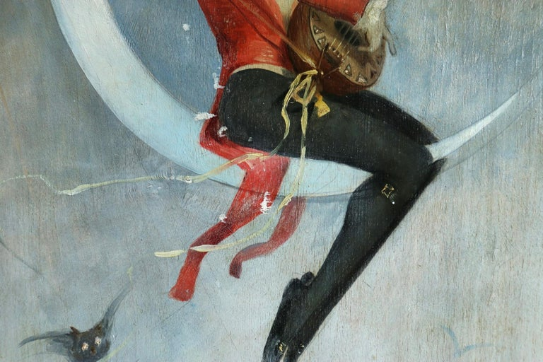 Pierrot on Crescent Moon - Large signed 1880 Belle Epoque oil by Alfred Choubrac For Sale 6