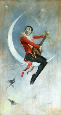 Pierrot on Crescent Moon - Large signed 1880 Belle Epoque oil by Alfred Choubrac
