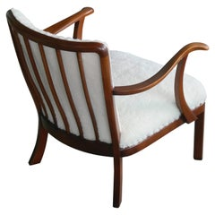 Alfred Christensen Danish Lambswool Spindle Back Open Armrest Lounge Chair