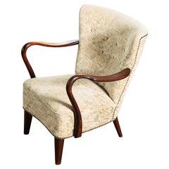 Alfred Christensen Easy Chair with Open Armrests, Denmark, 1940's