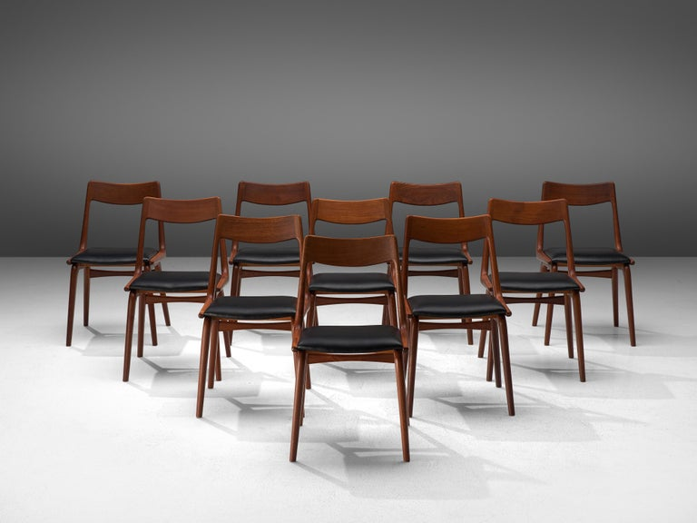 Danish Alfred Christensen for Slagelse Møbelvaerk Set of 10 Dining Chairs in Teak For Sale