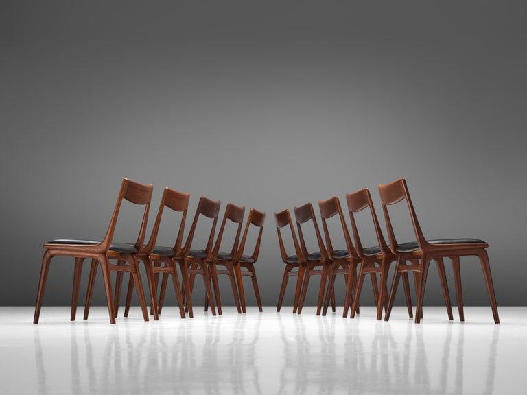 Mid-20th Century Alfred Christensen for Slagelse Møbelvaerk Set of 10 Dining Chairs in Teak For Sale