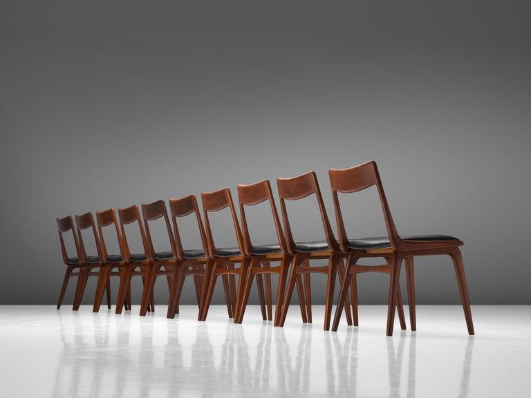 Alfred Christensen for Slagelse Møbelvaerk Set of 10 Dining Chairs in Teak For Sale 1
