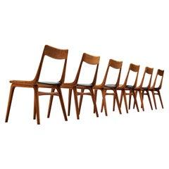 Alfred Christensen for Slagelse Møbelvaerk Set of Six 'Boomerang' Dining Chairs