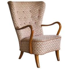 Alfred Christensen High Back Lounge Chair Armrests in Elm, Denmark, 1940s