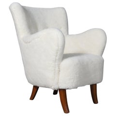 Alfred Christensen, Lounge Chair Lamb Wool, 1940s