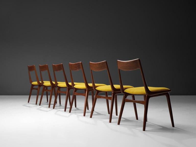 Scandinavian Modern Alfred Christensen Set of 'Boomerang' Chairs in Teak For Sale