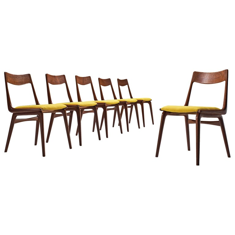 Alfred Christensen Set of 'Boomerang' Chairs in Teak For Sale