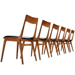 Alfred Christensen Set of Six 'Boomerang' Dining Chairs in Teak