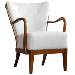 Alfred Christensen Spindle Back Open Armrest Lounge Chair in Elm and Lambswool