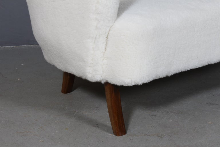 Scandinavian Modern Alfred Christensen, Two Seater Sofa Lamb Wool, 1940s For Sale