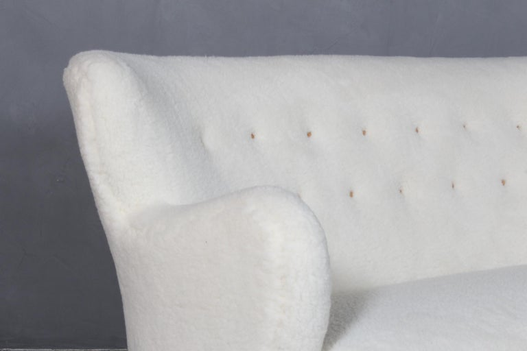 Danish Alfred Christensen, Two Seater Sofa Lamb Wool, 1940s For Sale