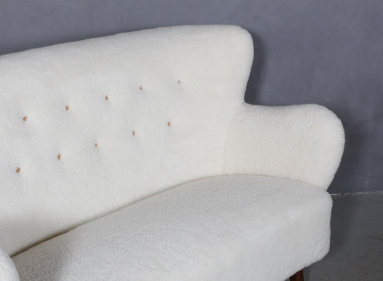 Alfred Christensen, Two Seater Sofa Lamb Wool, 1940s In Excellent Condition For Sale In Esbjerg, DK