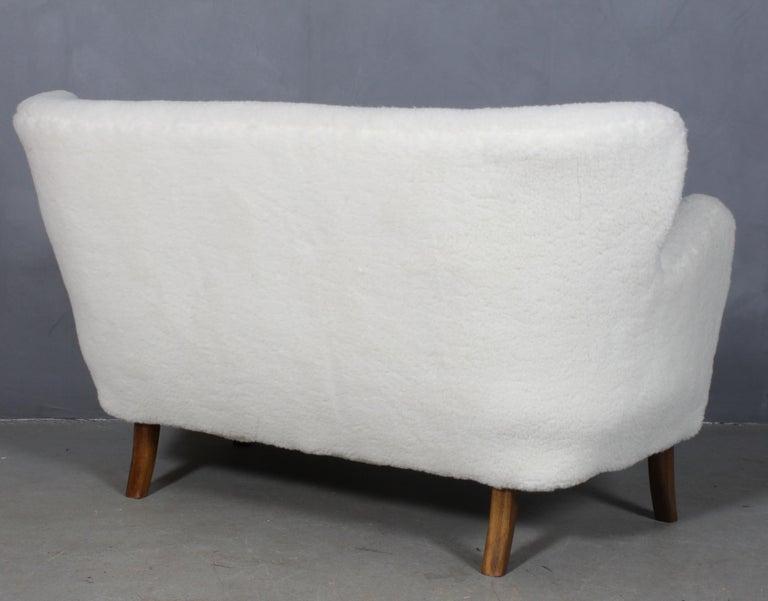 Mid-20th Century Alfred Christensen, Two Seater Sofa Lamb Wool, 1940s For Sale