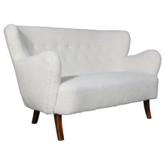 Alfred Christensen, Two Seater Sofa Lamb Wool, 1940s