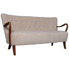 Alfred Christensen, Two ½ Seater Sofa Lamb Wool, 1940s