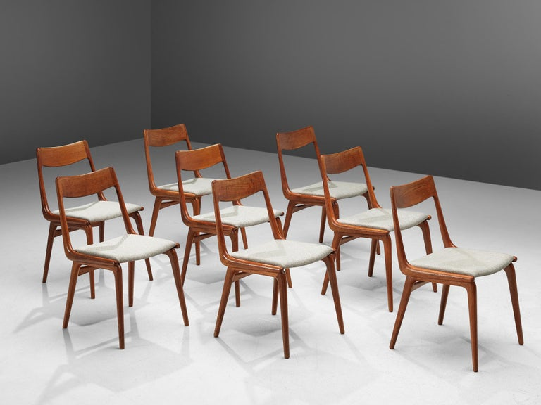 Alfred Christensen for Slagelse Møbelvaerk, dining chairs, teak and light gray upholstery, Denmark, 1960s.  Elegant set of eight Danish dining chairs, featuring a teak frame. Seen from the side, the seat's frame that flows over to the backrest has