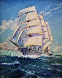 """""""The Abraham Rydberg at Full Sail"""", ocean-going Clipper, original oil on canvas"""